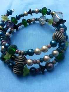 Blue green silver glass pearl bead memory wire by DoubleDzBeadz, $8.00
