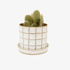 The Grid Planter and saucer are wheel thrown in speckled clay and glazed in a high gloss white. Grid and rim are left unglazed revealing the raw clay.  Small hole for proper drainage and saucer is included to catch the water.