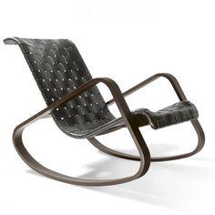 Luigio Crassevig; Bent Ashwood and Leather 'Dondolo' Rocking Chair, 1976.