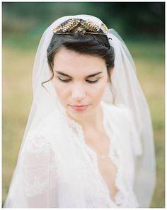 Art Deco Antique Bridal Wedding Crown Golden von PollyMcGeary