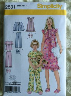 Simplicity Girls Pajamas Top Pants Gown Slippers by Vntgfindz