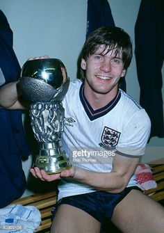 Paul Bracewell with the European Under21 Championship Trophy after England had beaten Spain 30 on aggregate in the Final at Bramall Lane Sheffield...