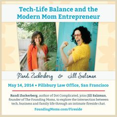 http://www.foundingmoms.com/fireside Randi Zuckerberg, author of Dot Complicated, joins Jill Salzman, founder of The Founding Moms, to explore the intersection of tech, business and family life through an intimate fireside chat.