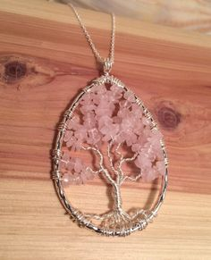 Tree of Life pendant  necklace  Rose Quartz by Just4FunDesign, $30.00