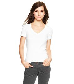 5303a7c916 How to Style Your White T-Shirt Now. V Neck ...