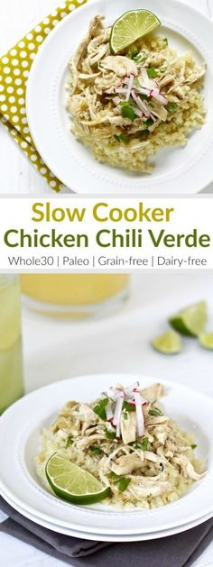 Slow Cooker Chicken Chili Verde | It hardly gets any easier than this recipe with just 5 ingredients! Look for a salsa verde without preservatives or added sugars - we like the Trader Joe's Salsa Verde because it's just tomatillos, green chiles, water, onions, jalapenos, salt and spices. Serve over cauliflower rice or tucked into lettuce wraps | Whole30 | Paleo | Grain-free | Dairy-free | http://therealfoodrds.com