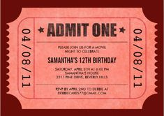 Red Ticket invitations to movie night. | Mighty Girl
