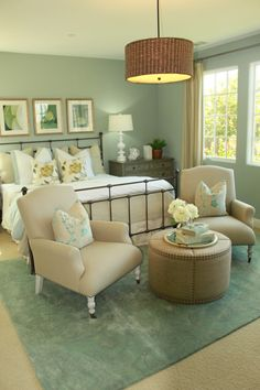 Love the color scheme with iron bed for guest room