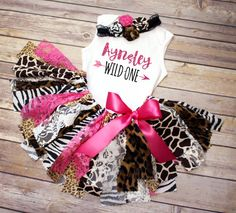 Hot Pink Safari Animal Print Fabric Tutu First Birthday Outfit // Wild One // Ships Fast // Buy it now on Etsy from FlyAwayJo