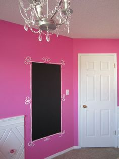 Chalkboard wall or chalkboard decals make any modern room look chic