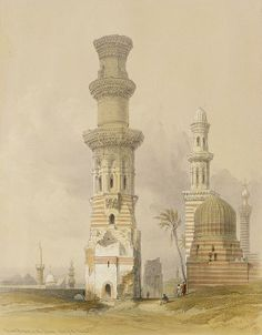 """Ruined Mosques in the Desert, west of the Citadel, Cairo, from """"Egypt and Nubia"""", Vol.3 (litho) by Roberts, David (1796-1864)"""