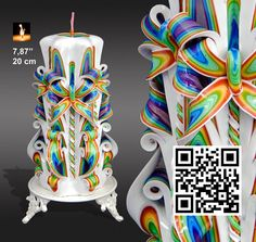 Carved candle, Hand carved candle, Unique Gift for her, Rainbow Large candle #MonnaCandles