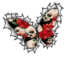 Sticar-it Ltd Butterfly Shaped RIPPED TORN METAL Gothic Tattoo Style Skull & Red Roses Motif Vinyl Car Sticker decal 125x90mm approx.
