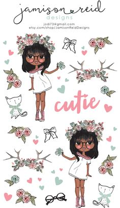 African American Cutie fashion sticker sheet by JamisonReidDesigns