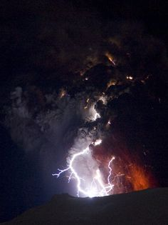 Lighting seen amid the lava and ash erupting from the vent of the Eyjafjallajokull volcano in central Iceland early morning Sunday April 18 2010 as it continues to vent into the skies over Europe. Low-energy lightning is sometimes active during eruptions, arcing between particles as they exit the volcanic vent at around 100 metres per second. AP Photo/ Jon Pall Vilhelmsson