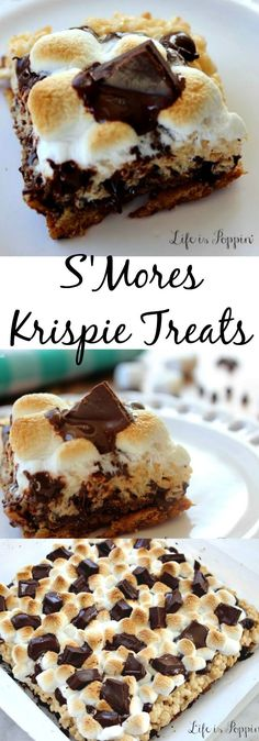 S'Mores Krispie Treats Recipe. Easy to make and of course easy to eat. Take these bad boys to the next cookout, baby shower or holiday party and your friends and family will go crazy for them. http://lifeispoppin.com/smores-krispie-treats/