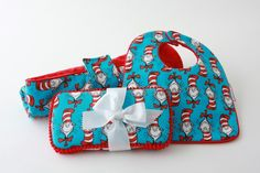 Baby Bib, Changing Pad, Wipes Case, Diaper Bag Gift Set, Dr Seuss, Cat In The Hat Cat Stripe. $47.95, via Etsy.