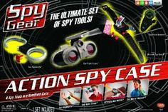 Spy Gear Action Spy Case by Spin Master. $199.00. Everything you need for day or night missions. Includes Night Scope, Ultimate Spy Watch,  Micro Listener, and Spy Handcuffs. Allows for multiple spies to participate as well. From the Manufacturer                Amazon Exclusive. Scout out the enemy, slap on the cuffs, and report back to headquarters.  The Action Spy Case includes everything you need for day or night missions.  Use all of the pieces together for extended mission...