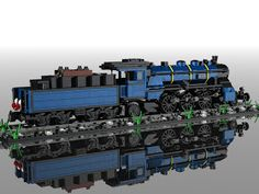 designed by the creator in CAD first. the train look is great. Lego Kits, Lego Truck, Lego Trains, Lego Worlds, Rolling Stock, Custom Lego, Lego Moc, Steam Engine, Lego Building
