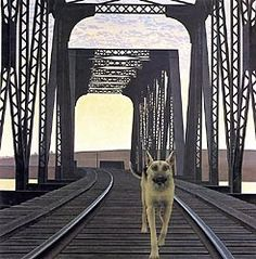"""Dog and Bridge"" - painting by Alex Colville (b. Alex Colville, Janet Hill, Canadian Painters, Canadian Artists, Andrew Wyeth, Magic Realism, Realism Art, Mark Tansey, Bridge Painting"