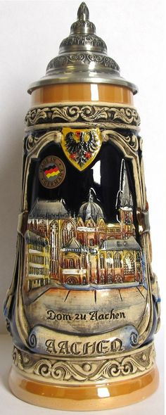 Aachen Germany Cathedral City Hall and Elise Fountain LE German Beer Stein .5 L