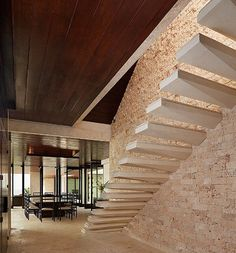 Casa Kimball, Dominican Republic, designed by Rangr Studio. Located on a cliff overlooking the Atlantic Ocean, Casa Kimball is a stunning example of contemporary architecture in harmony with its site. Interior Stairs, Home Interior, Interior And Exterior, Interior Design, Architecture Design, Architecture Portfolio, Floating Staircase, Wood Ceilings, Staircase Design