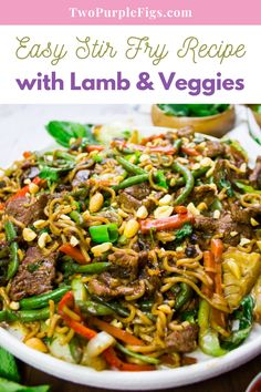 This one pot Stir Fry Recipe is a dinner wonder! Easy, vibrant and infused with flavors from the lamb and a special stir fry sauce. This is family favorite recipe to try! #stirfry #lamb #veggies #stirfrylamb #dinner #easyrecipe #twopurplefigs | twopurplefigs.com @twopurplefigs Stir Fry Recipes, Lamb Recipes, Asian Recipes, Ethnic Recipes, Best Brunch Recipes, Favorite Recipes, Spicy Fried Chicken, Easy Stir Fry, Stir Fry Sauce
