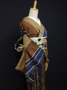 ●ガールズ●アンティーク!!ブラウン*シマシマ♪正絹袷 裄61.5丈150 - アンティーク着物や現代着物なら雅星本店
