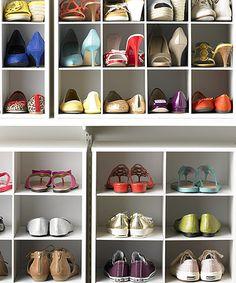 The Container Store > Tip > Shoe Storage Tips Garage Shoe Storage, Shoe Storage Hacks, Shoe Storage Solutions, Closet Storage, Closet Organization, Storage Ideas, Organizing Shoes, Closet Shelves, Container Store