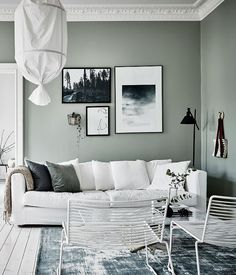 Do This, Get That Guide On Gorgeous White Living Room Decor - inspiredeccor Living Room Green, Home Living Room, Apartment Interior, Room Interior, Apartment Ideas, Green Apartment, Living Room Inspiration, Interior Inspiration, Sage Green Walls