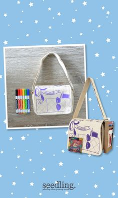 Add your own colorful style to this ready made canvas satchel with the color markers included.
