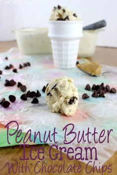 Chocolate and peanut butter come together in this Peanut Butter Ice Cream with Chocolate Chips and become a match made in Heaven. | EverydayMadeFresh.com Quick Family Meals, Peanut Butter Ice Cream, Frozen Meals, Ice Cream Recipes, Kid Friendly Meals, International Recipes, Chocolate Chips, Yummy Food, Delicious Recipes
