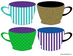 Cups from Tea Party Purple Teal Gold Printable Photo Booth Prop Set