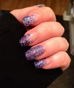 Purple glitter gel nails