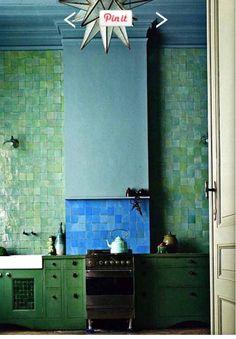 Green tile kitchen