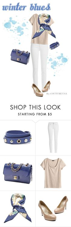 """Winter Blues"" by coutureusa ❤ liked on Polyvore featuring Louis Vuitton, Paige Denim, Chanel, H&M, Hermès and Stuart Weitzman"