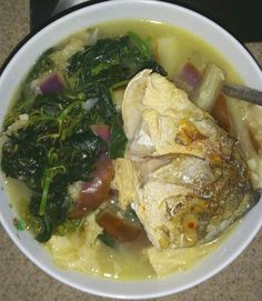 Stewed saluyot (jutes) w/eggplant strips & fried pompano in spoonful of calamansi by me