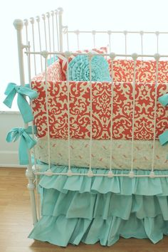 Coral crib bedding Coral Aqua Damask Ruffles 3 by LottieDaBaby
