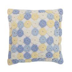 Almofada Crochê Fuxico - Azul
