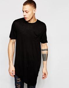 River Island Asymetric Drape T-Shirt In Black