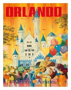 Giclee Print: Orlando, Florida, USA, Walt Disney World Resort, National Airlines : 14x11in