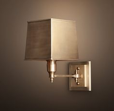 Restoration Hardware CLARIDGE SINGLE SCONCE WITH METAL SHADE - ANTIQUE BRASS