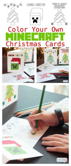 Atta Girl Says | Minecraft Coloring Pages Christmas Cards | http://www.attagirlsays.com