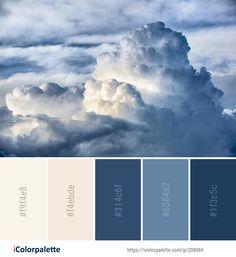 Color Palette Ideas from Cloud Sky Cumulus Image Color Schemes Colour Palettes, Blue Colour Palette, Dark Blue Color, Color Combos, Adobe Color Palette, Nautical Colors, Calming Colors, Interior Paint Colors, Morning Sky