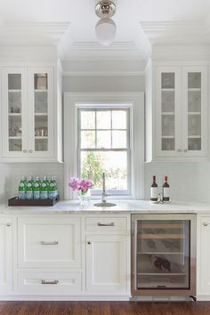 all white wet bar.
