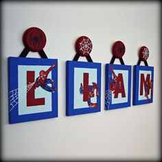 Spiderman Name Wall Art Spiderman Wall Art, Spiderman Theme, Spiderman Kids, Boys Room Decor, Kids Decor, Kids Room, Bedroom Themes, Bedroom Ideas, Bedroom Decor