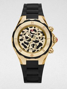 Michele Watches Animal Dial Chronograph Watch
