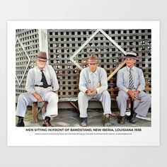 Men Sitting Outside Bandstand, New Iberia, Louisiana 1943 Art Print Colorized History, New Iberia, Meet The Artist, Buy Frames, Louisiana, The Outsiders, Art Prints, Artwork, Men