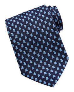 Frog Pattern Silk Tie, Navy by Salvatore Ferragamo at Neiman Marcus.