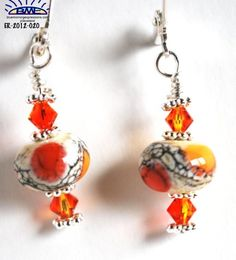 Handmade Orange Cream Lampwork Glass Bead Earrings Fire Opal Swarovski
